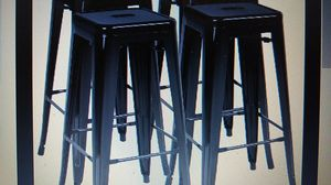Photo Easyfashion 30 High Stackable Metal Bar Stools Kitchen Dining Bar Chairs Backless, Set of 4, Counter Stool (Black)