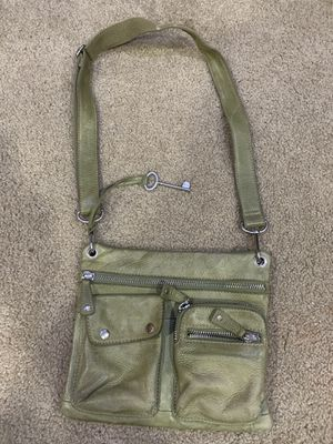 Photo Fossil green leather crossbody purse