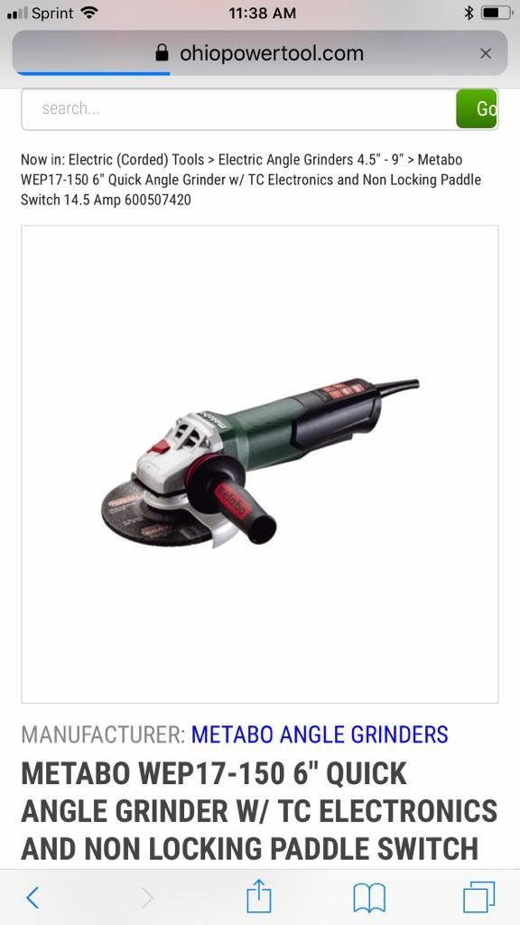 """Metabo WEP17-150 Quick 6/"""" Angle Grinder w// Non-Locking Switch 600507420 New"""