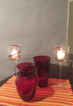 Vases and candle holders - 4 pieces for $25 for Sale in Silver Spring, MD