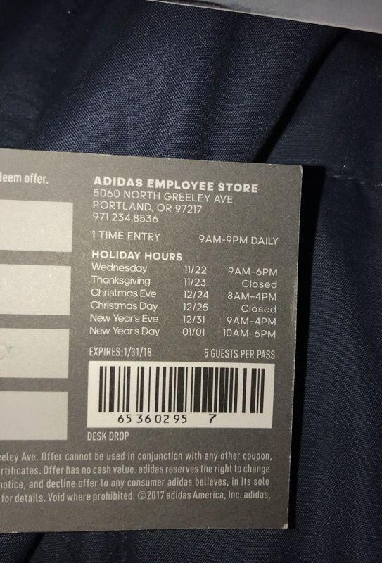 Adidas impiegato negozio pass (maggio) 5 / 29 / 18 per la vendita a portland, o