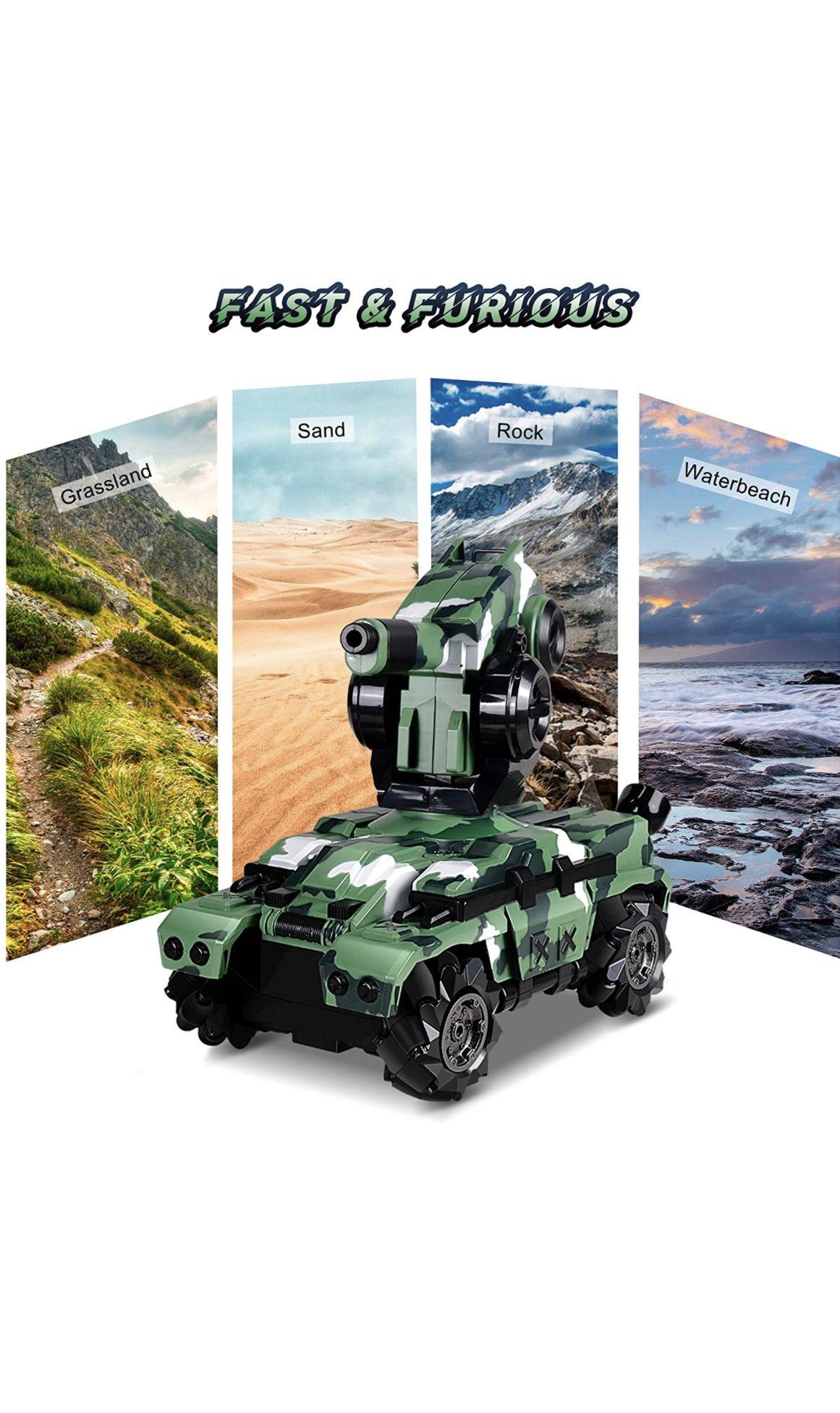 Remote Control Car RC Tank Car Waterproof with 180° Rotating Shooting & 360° Rotating Vehicle,