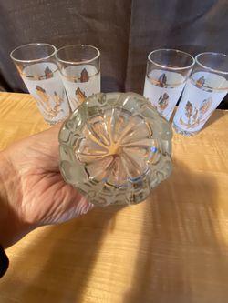 MCM Glassware  Set of 5 Highball Drink Glasses Gold Leaves Thumbnail