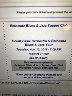 2tix Avail-Bethesda Blues & Jazz. for Sale in Washington, DC