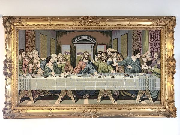 Last Supper Tapestry With Capodimonte Style Frame For Sale In