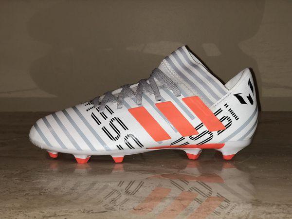 16c593843175 Adidas BY2412 Nemeziz Messi 17.3 FG J Soccer Cleats White Orange Sizes  Youth 1-6