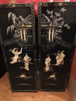Vintage Asian Black Lacquer 2 Panel Mother of Pearl Wall Hanging Art for Sale in North Bethesda, MD