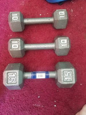 2 10 pound 1 15 pound barbell for Sale in San Dimas, CA