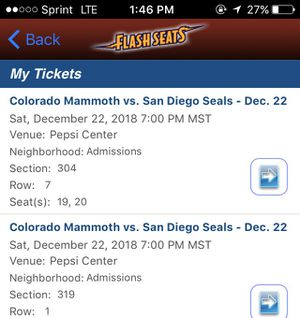 2 TICKETS COLORADO MAMMOTH TONIGHT!! for Sale in Denver, CO