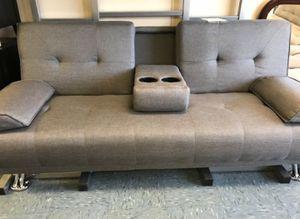 Brand New Grey Futon Bed w/Console for Sale in Alexandria, VA