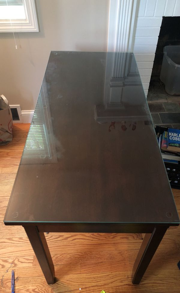 Brown Wooden Desk With Glass Cover For In West Hartford Ct Offerup