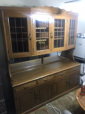 Photo 3 Piece - China Hutch Cabinet / Armoire Chest / Dining Buffet