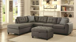 GREY SECTIONAL FABRIC (ottoman included) for Sale in Hialeah, FL