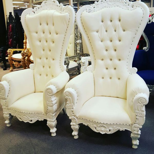 His And Hers King And Queen Thorne Chairs 6 Feet High Back
