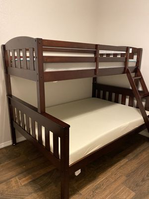 Photo Bunk Beds Twin over Full with Ladder and Guard Rail