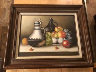 Vintage Oil On Canvas Still Life Artist Signed Pete Albane Thumbnail