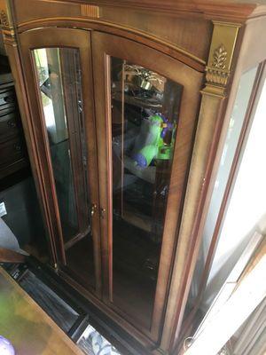 Brown wooden framed glass display cabinet for Sale in Clarksburg, MD