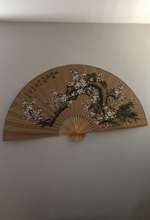 Brown, white and black cherry blossom hand printed fan for Sale in Los Angeles, CA
