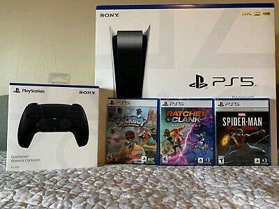 Sony PS5 Blu-Ray Edition Console Bundle + 3 Games and Midnight Black Controller