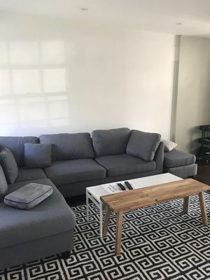 Brand New Grey Linen Sectional Sofa Couch + Ottoman (3 Color Options) for Sale in Silver Spring, MD