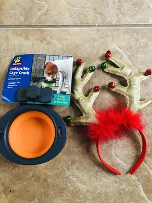 Reindeer Headband for Holiday Dog Photos & A Collapsible Cage Water Bowl NWOT's for Sale in Manassas, VA