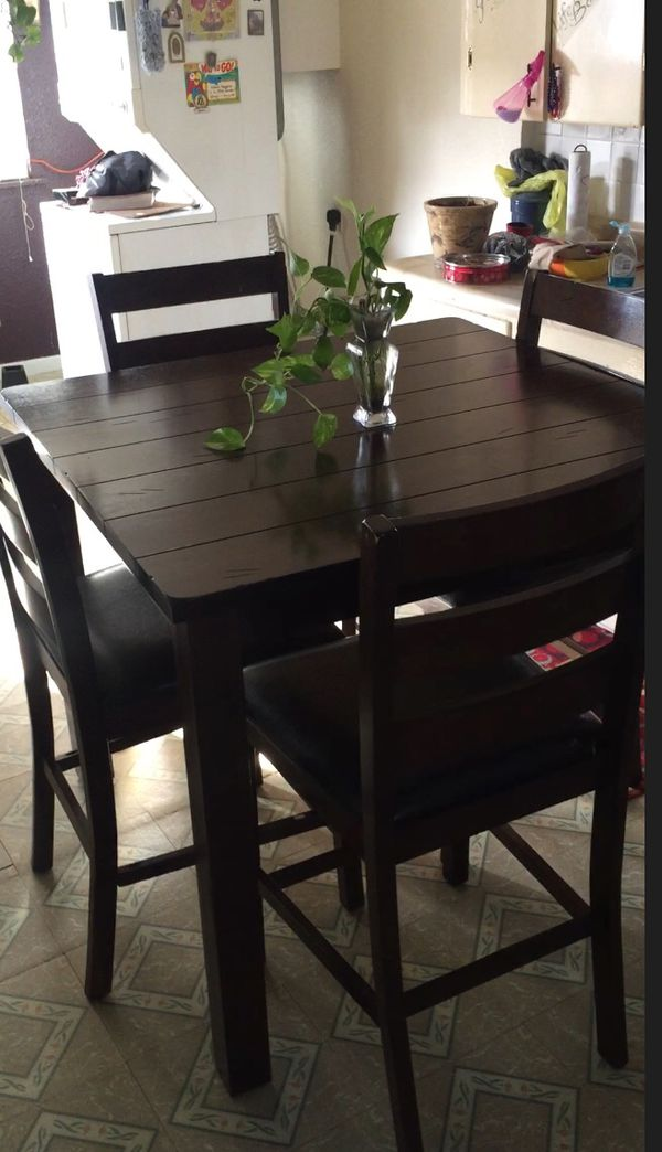 Espresso Brown Finish Wood Counter Height Dining Table Set From Clean Smoke Free Home Very Good Condition San Antonio TX