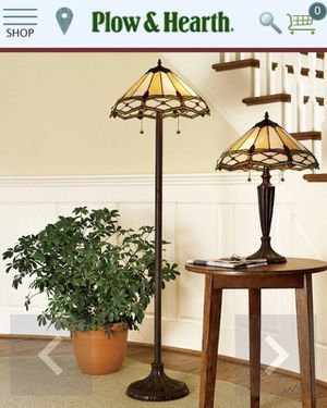 Plow and Hearth Stained Glass Gold and Ruby Floor Lamp for Sale in Olney, MD