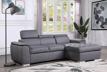 🦠39 DOWN 🦠Diego Gray Sectional with Pull-out Bed Thumbnail