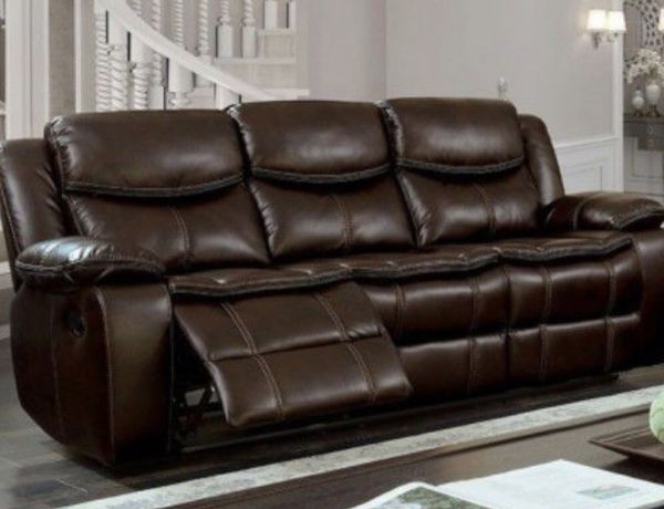 Real Showroom Dual Reclining Brown Sofa Same Day Delivery Available Los Angeles