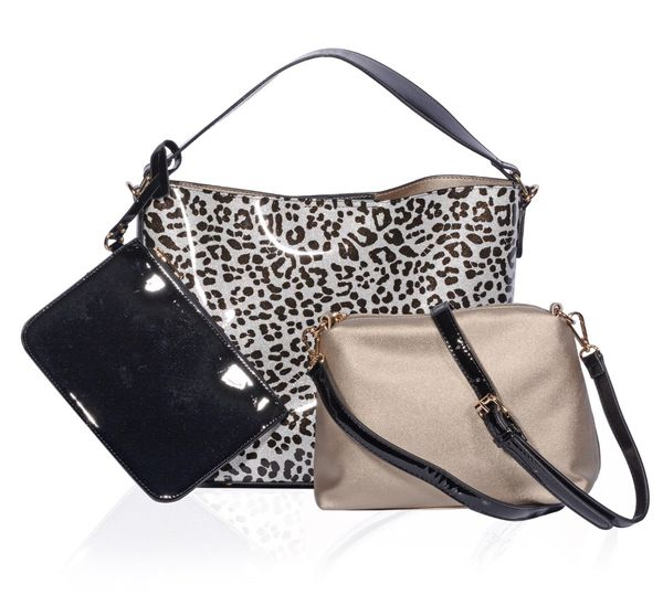 55f5b33892 Leopard and Black Vegan Patent Leather Bags for Sale in New York ...