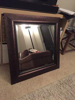 32.5'' X 32.5'' Mirror - Real Wood (Brown) Thumbnail