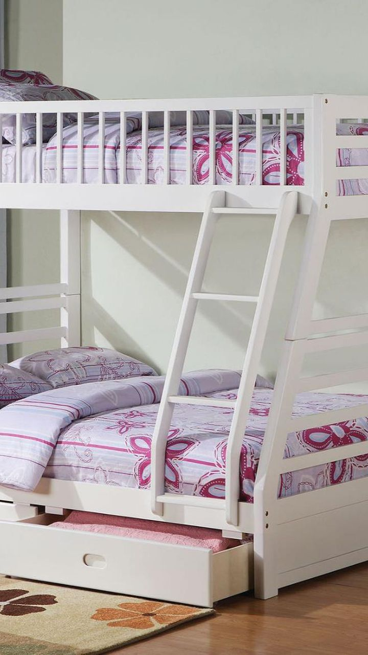 Twin/Full Bunk Bed  AND  Drawers - 37040 - White 1WCZP