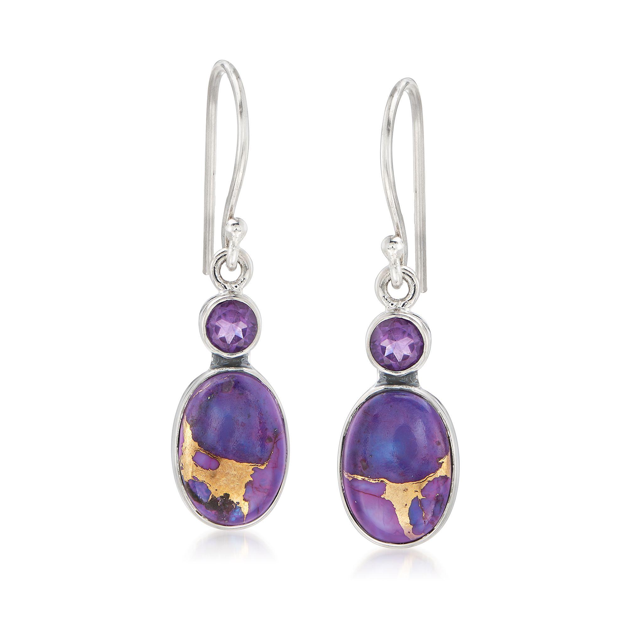 Ross-Simons Purple Kingman Turquoise and Amethyst Drop Earrings in Sterling Silver