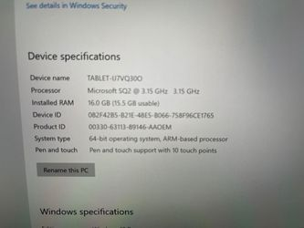 Surface Pro X, SQ2 CPU/16GB/512GB/Cellular LTE/Keyboard/Pen/Warranty+ Thumbnail