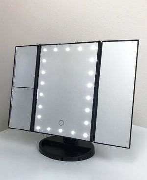 """Photo New $20 each Tri-fold LED Vanity Makeup 13.5""""x9.5"""" Beauty Mirror Touch Screen Light up Magnifying"""