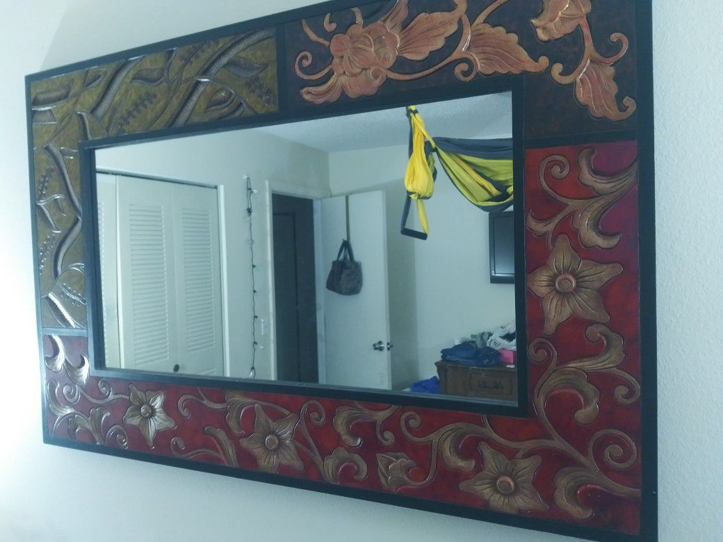 Large Mirror Wood Handcrafted.