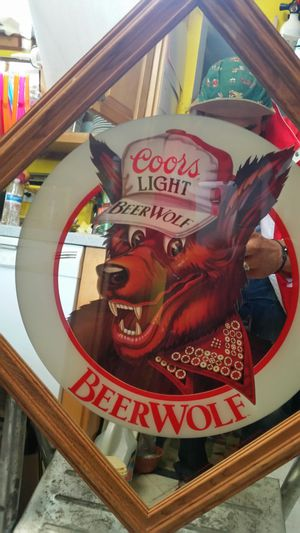 Vintage Coors Light Beer Wolf Bar mirror like new! for Sale in Montgomery Village, MD
