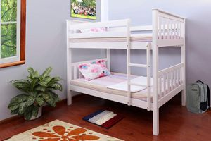 Photo WHITE FINISH TWIN OVER TWIN SIZE MISSION STYLE BUNK BED