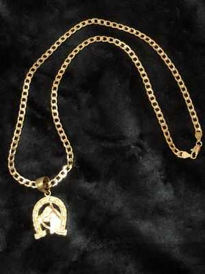 Curb Cuban link diamond cut GOLD PLATED Necklace With Lucky Horse Charm for Sale in Orlando, FL