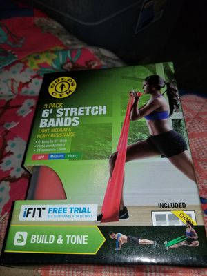 "Gold Gym 6 Stretch Bands Exercise Chart 3 Pack 6 L X 6"" W for Sale in Baltimore, MD"