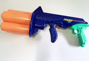 Vintage 1994 Nerf Ballzooka with Rotating Turret and 5 Balls. Functions perfectly. Pump action handle with rotating turret. for Sale in Vienna, VA