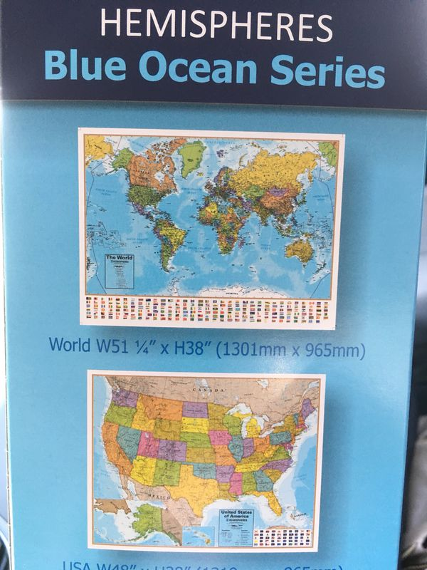 Large Laminated Us Map.World And United States Large Map For Sale In San Antonio Tx
