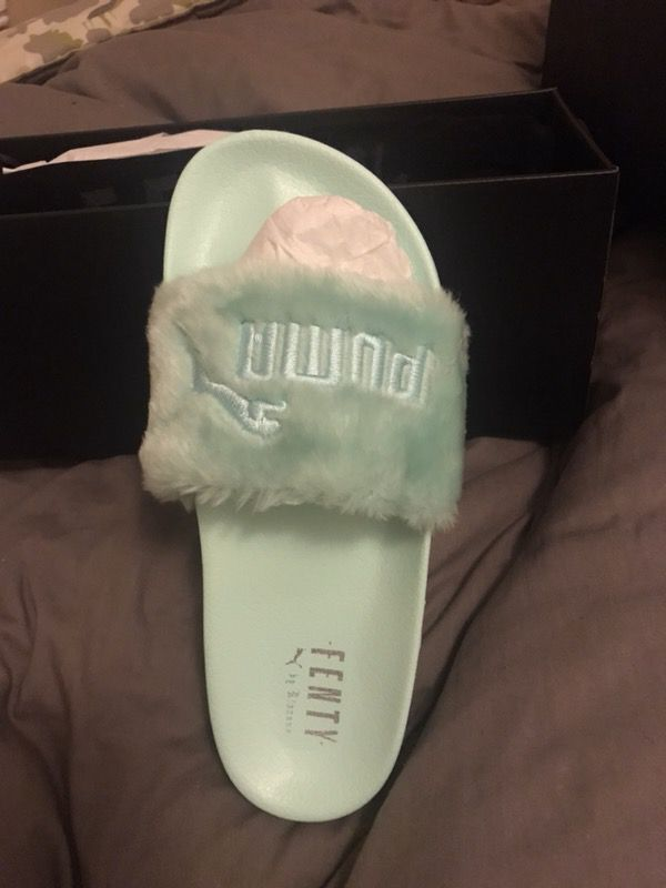 best loved f3289 0417c Rihanna Fenty Puma Faux Fur Slide Sandal in Seagreen for Sale in Oakland,  CA - OfferUp