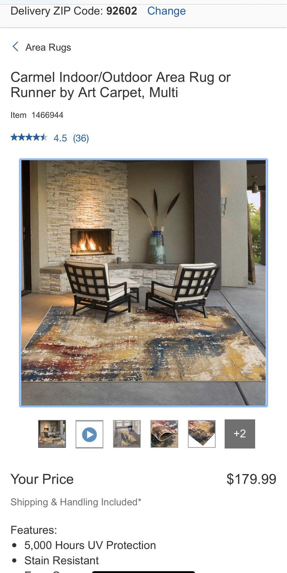 "Carmel Indoor/Outdoor Area Rug or Runner by Art Carpet, Multi 5'3"" X7'4"""