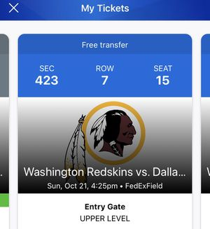 Redskins vs Cowboys 10/21 7th ROW Seats for Sale in Washington, DC