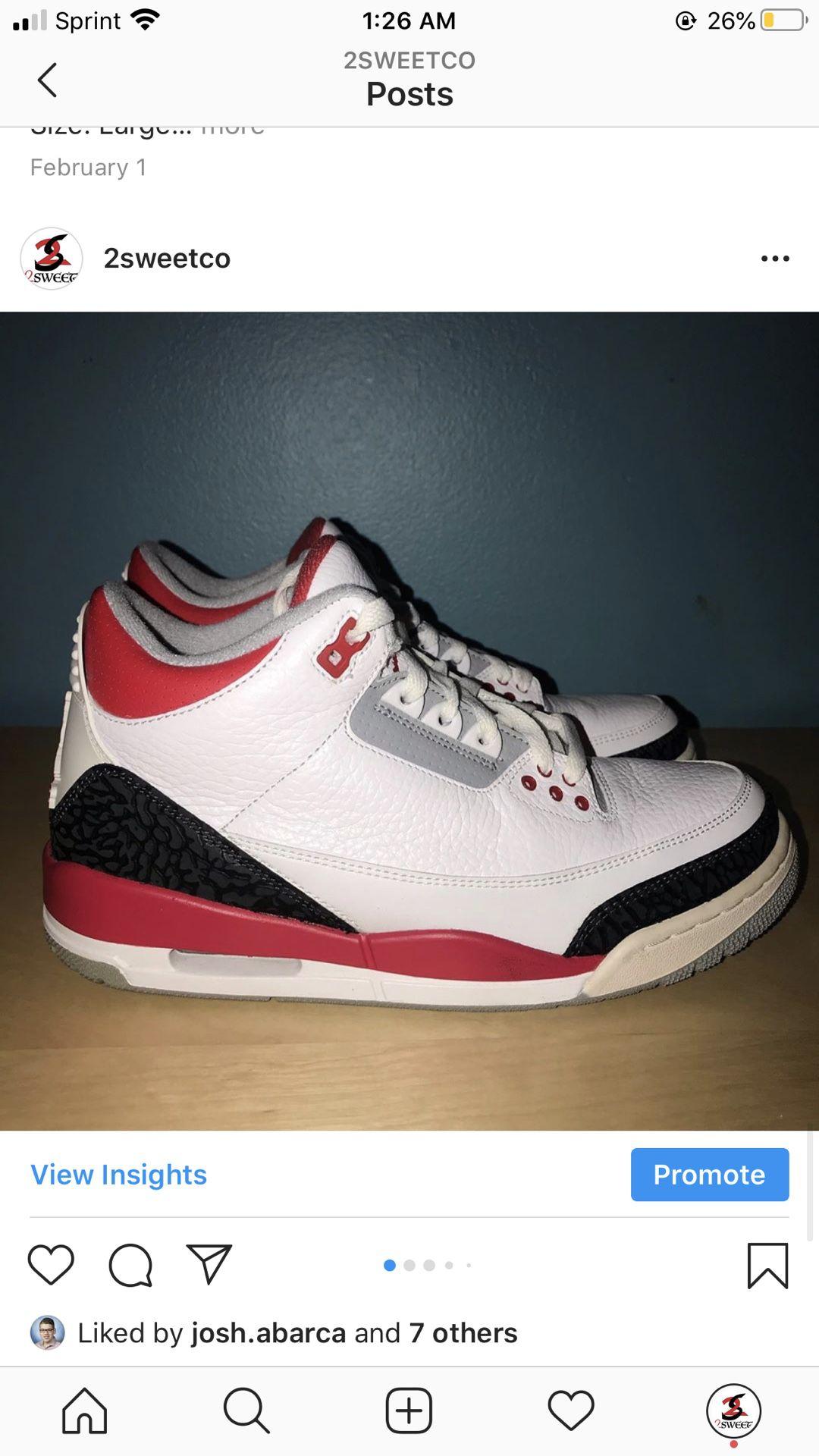 Air Jordan 3 Fire Red size 8