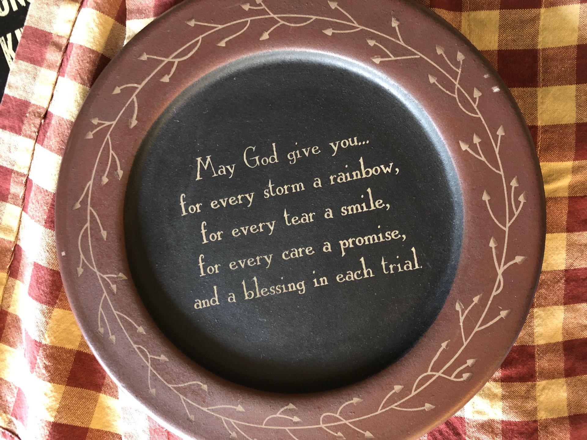 Wood Plate w/inspirational message