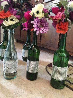 Wine bottles with flowers for Sale in Phenix, VA