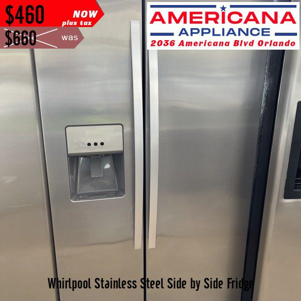 *TEMPORARY PRICE* Whirlpool Stainless Steel Side by Side Fridge