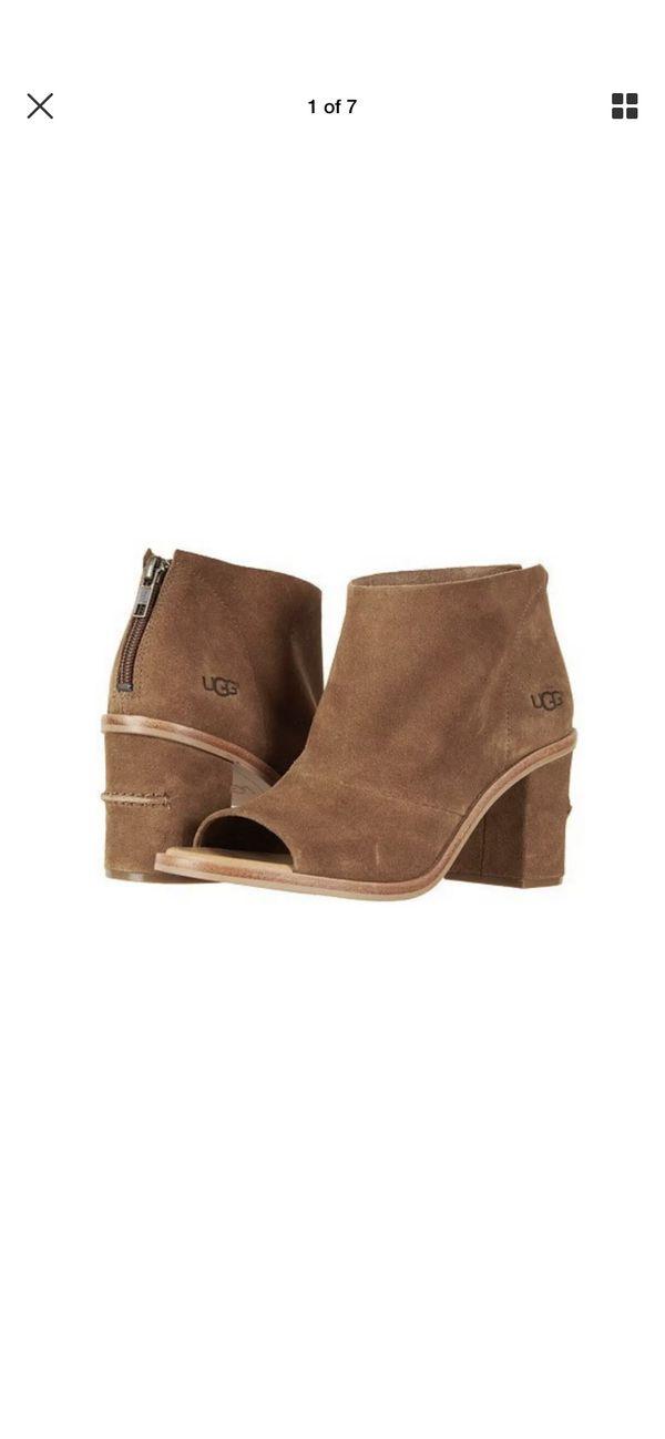 9fa363bba49 New UGG Women's Ginger Open Peep Toe Zipper Bootie Chestnut Cow Suede -Size  8 for Sale in Burkburnett, TX - OfferUp